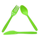 Plastic Utensils In a Reycling Triangle