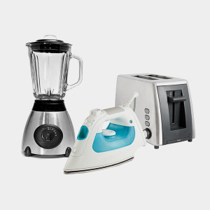 blender, iron and toaster