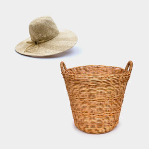 straw hat and basket